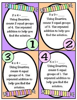Smarties Multiplication Task Cards (TEKS 3.4E)