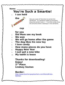 Smarties Sentences (Punctuation)