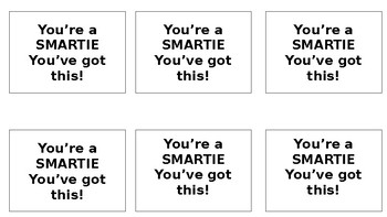 Smarties Slips for Benchmarks, Tests, Encouragement