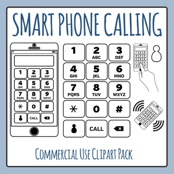 Smartphone Calling Black and White Clip Art for Commercial Use
