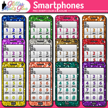 Cell Phone Clip Art | Rainbow Glitter Smartphones for Classroom & Technology Use