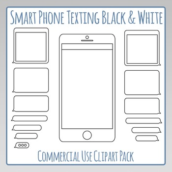 Smartphone Texting Template Black and White Clip Art Pack for Commercial Use