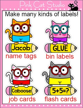 Cat Name Tags and Locker Labels