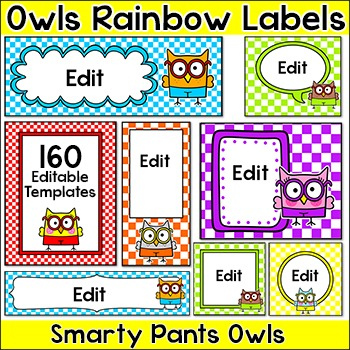 Owl Theme Rainbow Labels for Classroom Jobs, Name Tags, Supply Bins