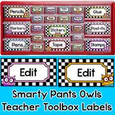 Owl Theme Teacher Toolbox Labels - Editable