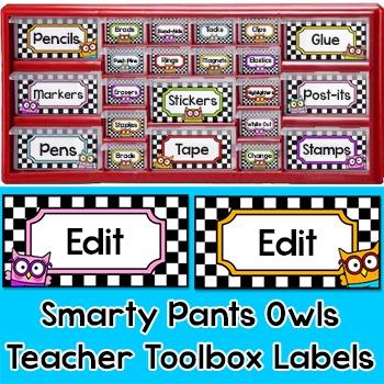 Owl Theme Teacher Toolbox Labels