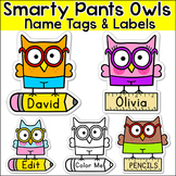 Owl Theme Classroom Editable Name Tags and Labels - Student Name Labels