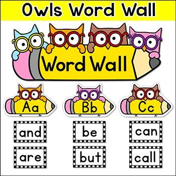 Word Wall Owl Theme - Editable