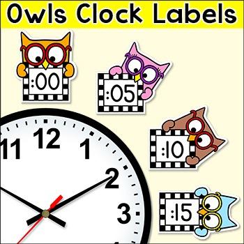 Owl Theme Telling Time Clock Labels Classroom Decor
