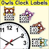 Owl Theme Classroom Clock Labels & Telling Time Worksheets