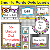 Owl Theme Editable Labels and Templates - make classroom posters, signs etc