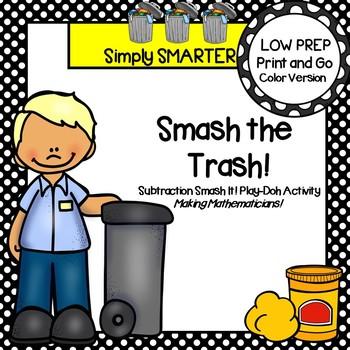Smash The Trash:  LOW PREP Community Helper Themed Smash It Play Dough Activity