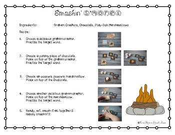 Smashin' S'mores MINI SET for k & g: LOW PREP Speech Therapy Activity