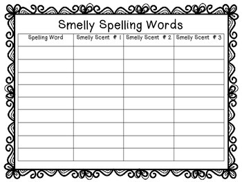 Smelly Spelling Word Work