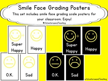 Smile Face Grading Scale Posters