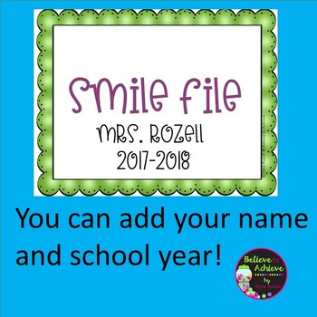 Smile File Covers (FREE and EDITABLE)