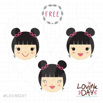 Smile Girl - FREE clip art set
