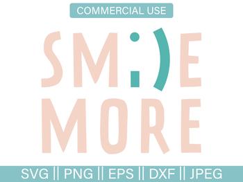 Smile More Emoji Cut File and Clip-Art - SVG, PNG, EPS, DXF, JPG