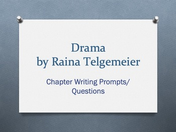 Drama, a graphic novel by Raina Telgemeier. Chapter Questions/Writing Prompts