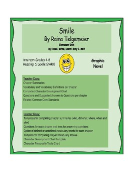 Smile by Raina Telgemeier Literature Unit