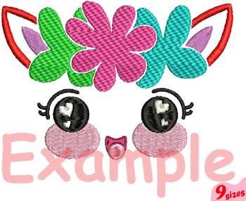 Smile face Embroidery Design cute smile happy girl baby unicorn birthday 135b