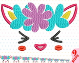 Smile face Embroidery Design kawaii cute smile happy girl baby unicorn 142b