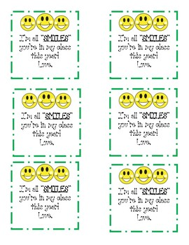 Smiles Back To School Gift Treat Tag