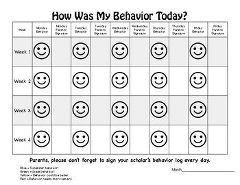 Smiley Behavior Chart