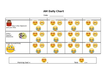 Smiley Behavior Plan Chart -Stay in Area, Follow Directions, Quiet Voice & Body