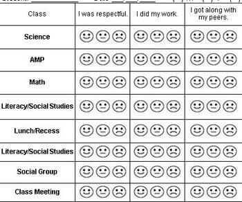 Smiley Behavior Sheet