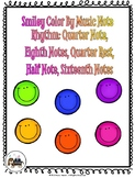Smiley Color By Music Note Rhythm Coloring - Quarter/Eighth/Half/Sixteenth Note