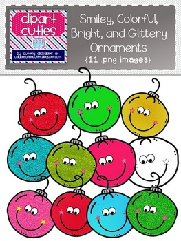 Smiley, Colorful, Bright, and Glittery Ornaments {Clipart for Christmas}