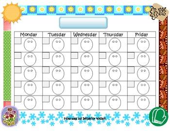Smiley Face Behavior Calendar