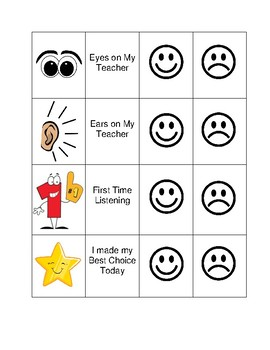 Happy face behavior charts for Smiley face behavior chart template