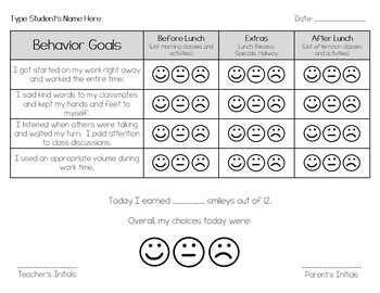Smiley Face Behavior Chart / Behavior Plan {editable]