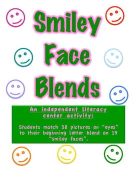 Smiley Face Blends-Literacy Center-Match Pictures to Beginning Blends