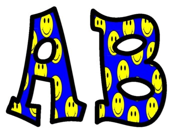 Smiley Face Bulletin Board Letters with Blue Background