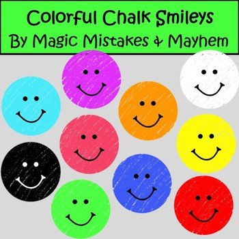 FREEBIE!!! Smiley Face Clip Art- Bright Colorful Chalk Style Smileys