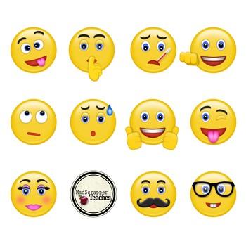 Smiley Face Clip Art Emoji Digital Clipart Bundle Color and Black and White