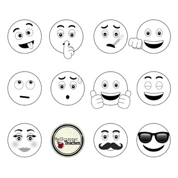 Smiley Face Clip Art Emoji Digital Clipart Bundle Color and Black and White