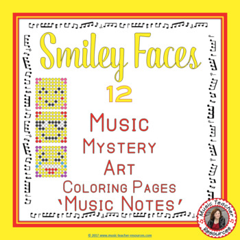 Music Coloring Sheets: 12 Smiley Faces Music Coloring Pages: Music Mystery Art