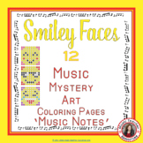Music Coloring Sheets: 12 Smiley Faces Color by Music Note Pages
