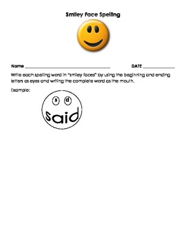 Smiley Face Spelling Word Work Centers