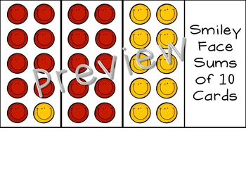 Smiley Face Sums of 10 Cards {Simplified Teaching}