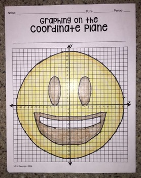 Smiley Face with Open Mouth EMOJI (Graphing on the Coordinate Plane)