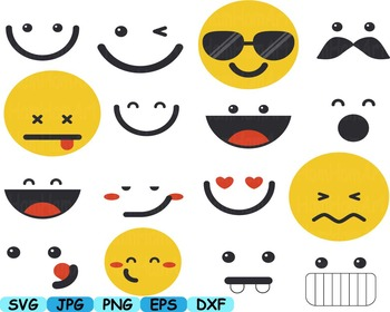 Smiley Faces Emoji Silhouette Face Funny clip art svg kawaii Emoticon  -166s
