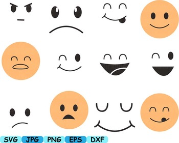 Smiley Faces Emoji Silhouette Face Funny clip art svg kawaii Emoticon  -167s
