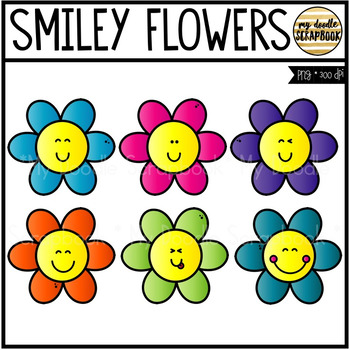 Smiley Flowers (Clip Art for Personal & Commercial Use)
