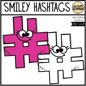 Smiley Hashtags # (Clip Art for Personal & Commercial Use)
