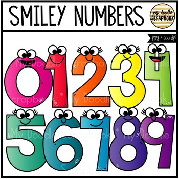 Smiley Numbers (Kids Clip Art for Personal & Commercial Use)